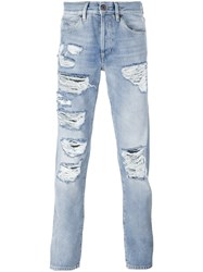 Off White Ripped Jeans Blue