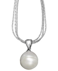 Honora Style Cultured Freshwater Pearl Drop Pendant Necklace In Sterling Silver 12Mm White