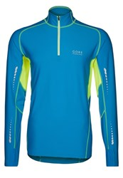 Gore Running Wear Mythos Thermo Long Sleeved Top Splash Blue Neon Yellow
