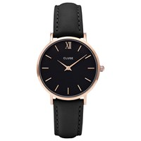 Cluse Cl30022 Women's Minuit Rose Gold Leather Strap Watch Black