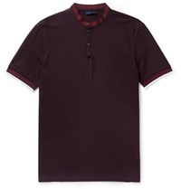 Lanvin Slim Fit Grandad Collar Cotton Pique Polo Shirt Burgundy