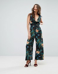 Asos Cowl Neck Jumpsuit In Print Multi