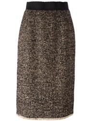 Dolce And Gabbana Tweed Pencil Skirt Brown