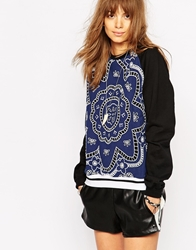 Native Rose Hawaiian Print Sweatshirt Navy