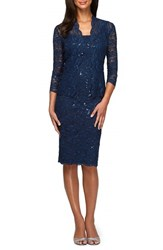 Alex Evenings Women's Lace Dress And Jacket Navy