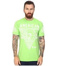 American Fighter Siena Heights Handcrafted Short Sleeve Crew Tee Neon Lime Green Men's T Shirt