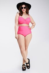 Forever 21 Plus Size Pleated High Waisted Bikini Bottoms Hot Pink