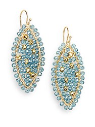Nunu Blue Quartz And Pyrite Bead Earrings
