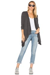 Chaser Drape Front Open Cardigan Charcoal