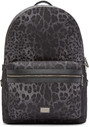 Dolce And Gabbana Black Leopard Print Volcano Backpack