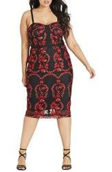 City Chic Plus Size Women's Dolce Rose Embroidered Corset Dress