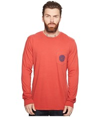 Rip Curl Punch Heritage Pocket Long Sleeve Red Men's Long Sleeve Pullover