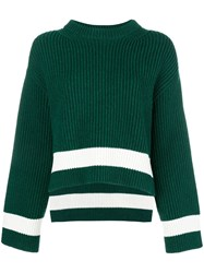 Alexander Mcqueen Ribbed Knit Jumper Green