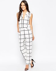 Liquorish Grid Print Jumpsuit White
