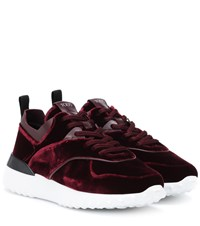 Tod's Exclusive To Mytheresa Velvet Sneakers Red