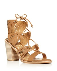 Dolce Vita Luci Lace Up High Heel Sandals Saddle