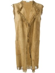 P.A.R.O.S.H. Frayed Edge Vest Nude And Neutrals