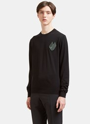 Lanvin Embroidered Patch Crew Neck Sweater Black