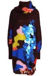Delpozo Embellished Intarsia Knit Mohair And Silk Blend Turtleneck Sweater Merlot