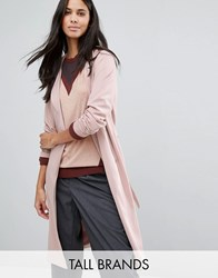 Y.A.S Tall Anna Slouchy Tie Waist Trench Coat Blush Pink