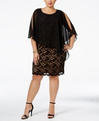 Connected Plus Size Overlay Lace Sheath Dress Black