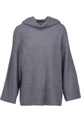 Magaschoni Ribbed Cashmere Turtleneck Sweater Gray