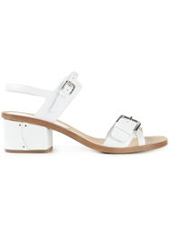 Roberto Del Carlo Low Chunky Heel Sandals White