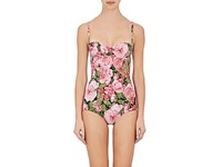Dolce And Gabbana Women's Floral Print One Piece Swimsuit Pink