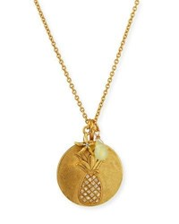Sequin Pineapple Charm Talisman Necklace Gold