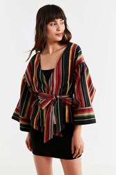 Urban Outfitters Uo Chessie Striped Wrap Jacket Black Multi