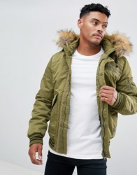 Blend Of America Faux Fur Hooded Bomber Jacket 77221 Dusty Olive Green