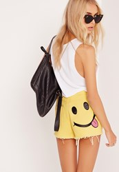 Missguided Smiley Face Denim Shorts Yellow Yellow