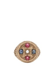 Jade Jagger Star Medallion Sapphire Pearl And 18Kt Gold Ring Gold