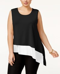 Calvin Klein Plus Size Asymmetrical Colorblocked Shell Black