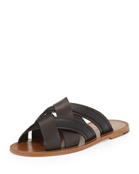 Bottega Veneta Woven Leather And Crocodile Sandal Black Brown