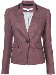 Veronica Beard Knit Blazer Silk Acrylic Polyester Wool Pink Purple