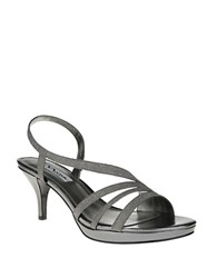 Nina Neely Glitter Vinyl Open Toe Sandals Pewter