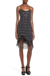 Nbd Dresses Beaded Fringe Trim Slipdress Black