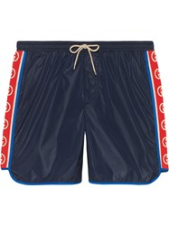 Gucci Nylon Swim Shorts With Logo Stripe Blue