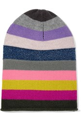 Allude Striped Cashmere Beanie Pink