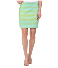 Michael Michael Kors Stripe Ponte Zip Skirt Pear Peacock Women's Skirt Green