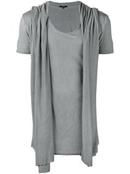 Unconditional Draped Hooded Waistcoat T Shirt Men Rayon L Grey