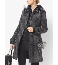 Feather Embroidered Houndstooth Tweed Coat