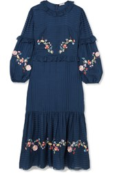 Vilshenko Adeline Embroidered Cotton And Silk Blend Maxi Dress Navy