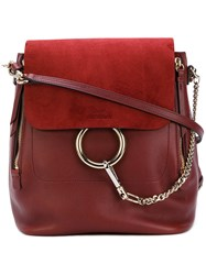 Chloe Faye Backpack Women Cotton Calf Leather Calf Suede One Size Red