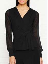 Karen Millen Sheer Sleeve Draped Wrap Jersey Top Black