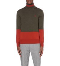 Vivienne Westwood Colour Block Wool Turtleneck Jumper Green Orange