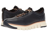 Cole Haan Zerogrand Perforated Sneakers Marine Blue Leather Black Rainstorm Ivory Men's Lace Up Casual Shoes