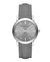 Burberry 38Mm Gray Stainless Steel And Leather City Watch Grey