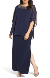 Xscape Evenings Plus Size Women's Embellished Chiffon Overlay Jersey Gown